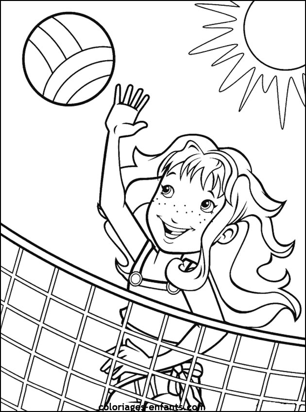 colored pages coloring activity pages girl playing beach volleyball colored pages