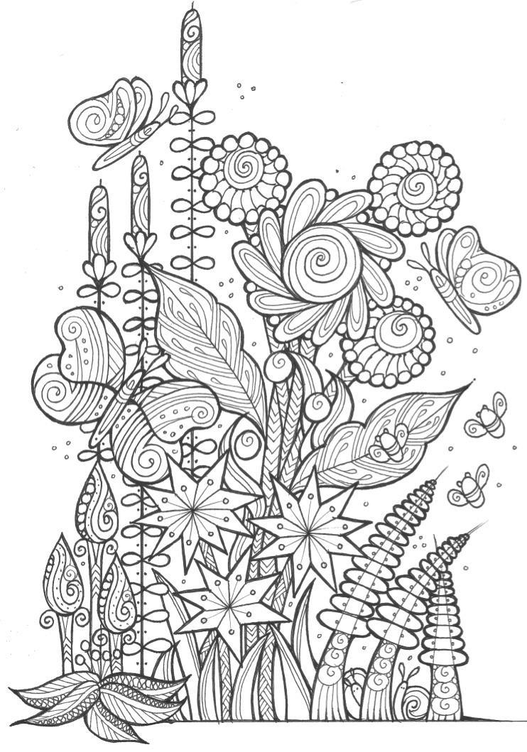 coloring book adults printable butterflies and bees adult coloring page favecraftscom coloring printable book adults