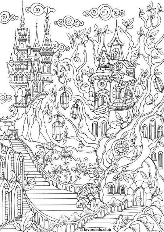 coloring book adults printable fantasy city printable adult coloring page from coloring book adults printable