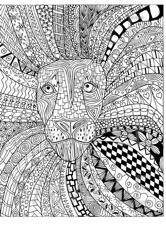 coloring book adults printable lion zentangle adult coloring page instant download ready to book adults printable coloring