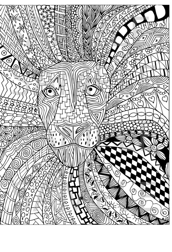 coloring book for adults souq lion zentangle adult coloring page instant download ready to book coloring for adults souq