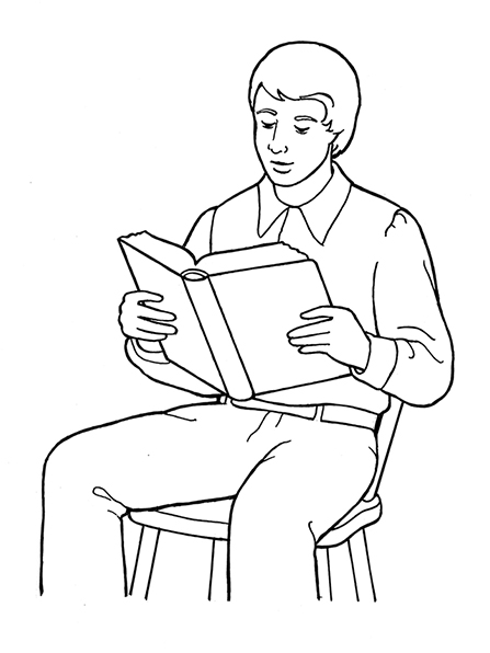 coloring page of a man joseph smith reading the scriptures a page coloring man of