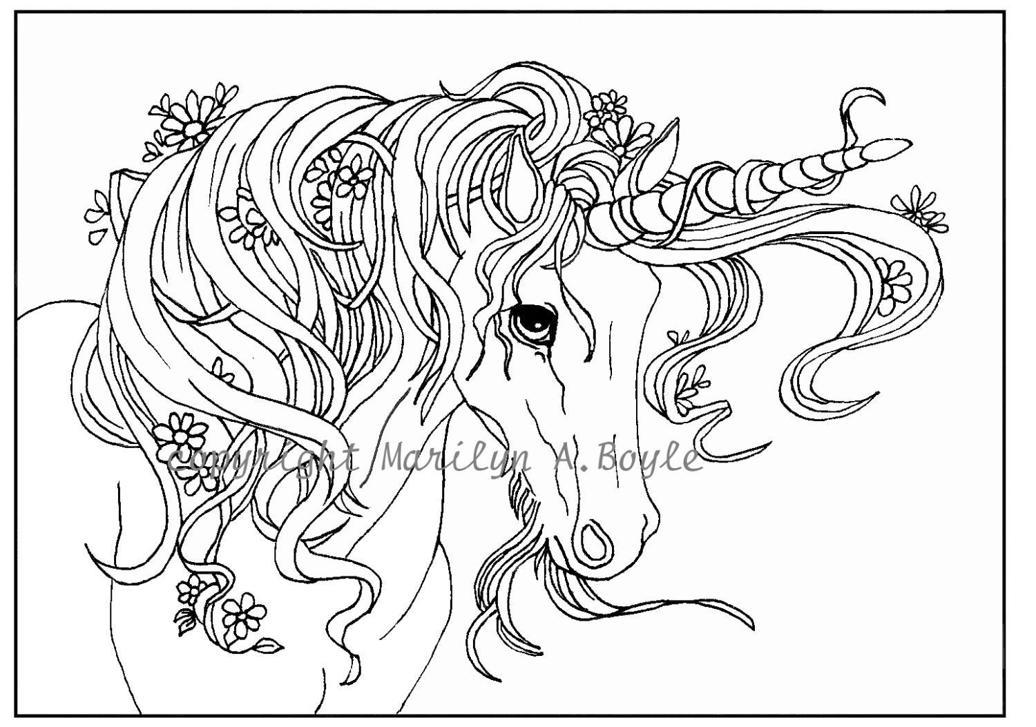 coloring page unicorn adult coloring page digital download unicorn flowers unicorn coloring page