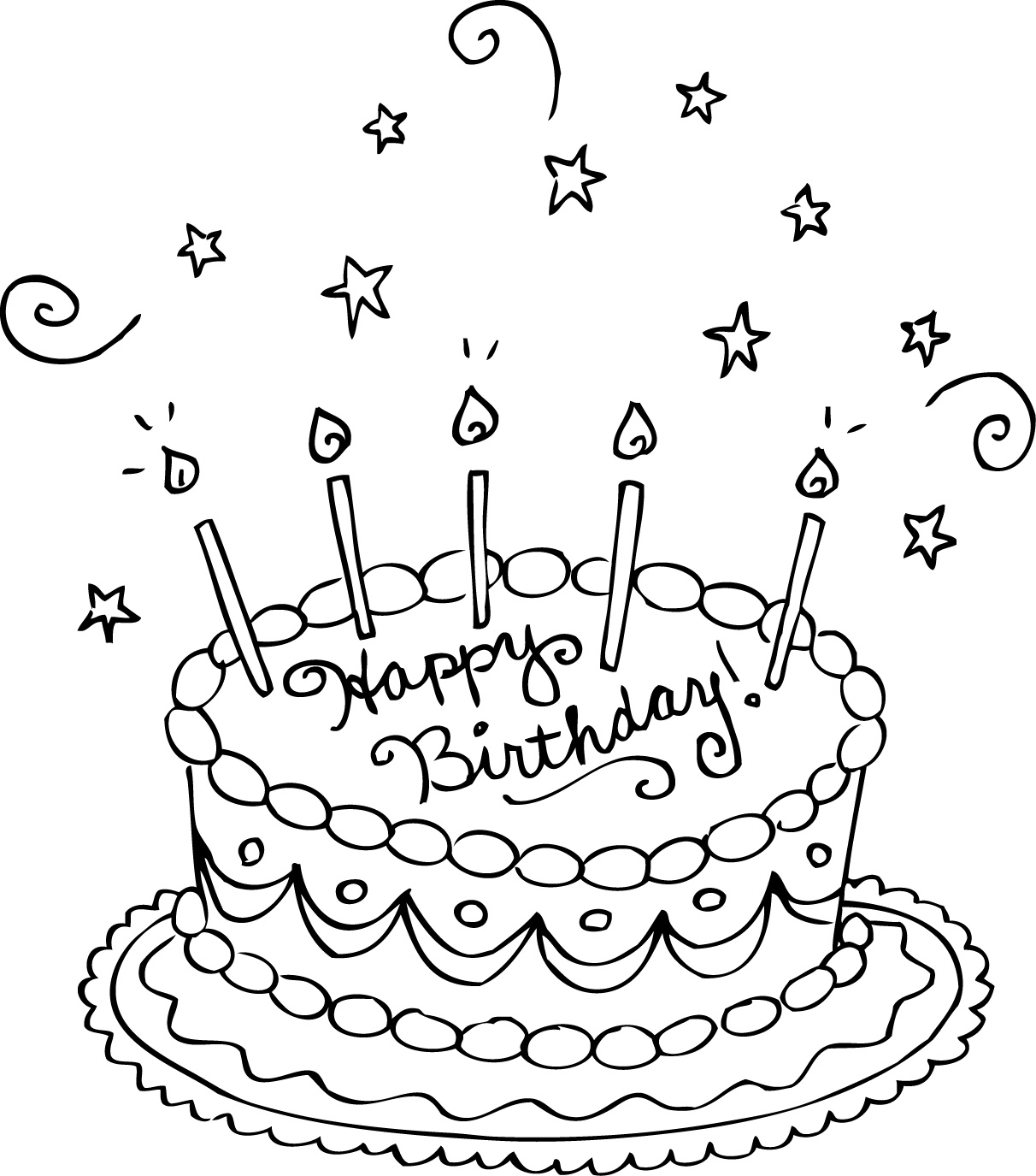 coloring pages birthday cake free printable birthday cake coloring pages for kids cake birthday coloring pages 1 1