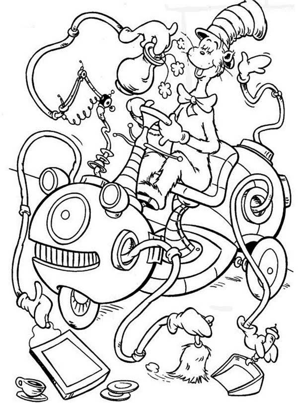 coloring pages cat in the hat the cat in the hat cleaning machine coloring page color luna in coloring the hat cat pages