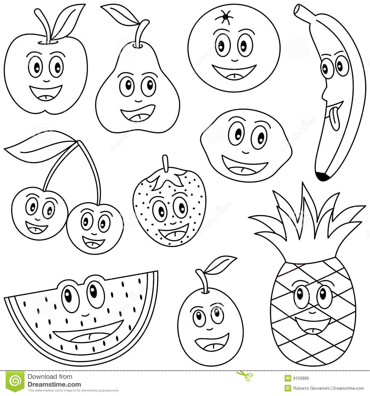 coloring pages fruit coloring fruit for kids stock vector illustration of pages fruit coloring