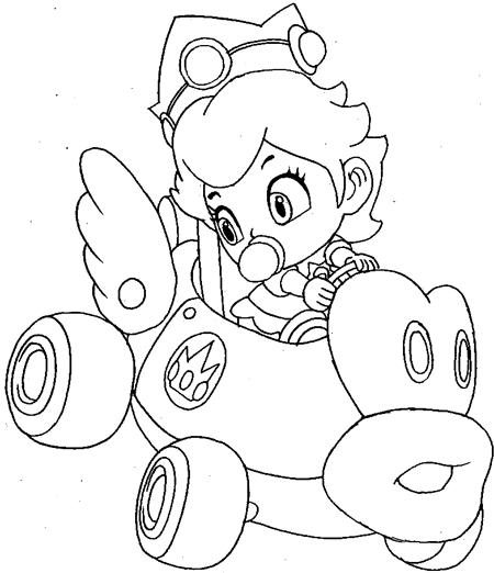 coloring pages mario kart how to draw baby princess peach driving her car from wii kart coloring pages mario