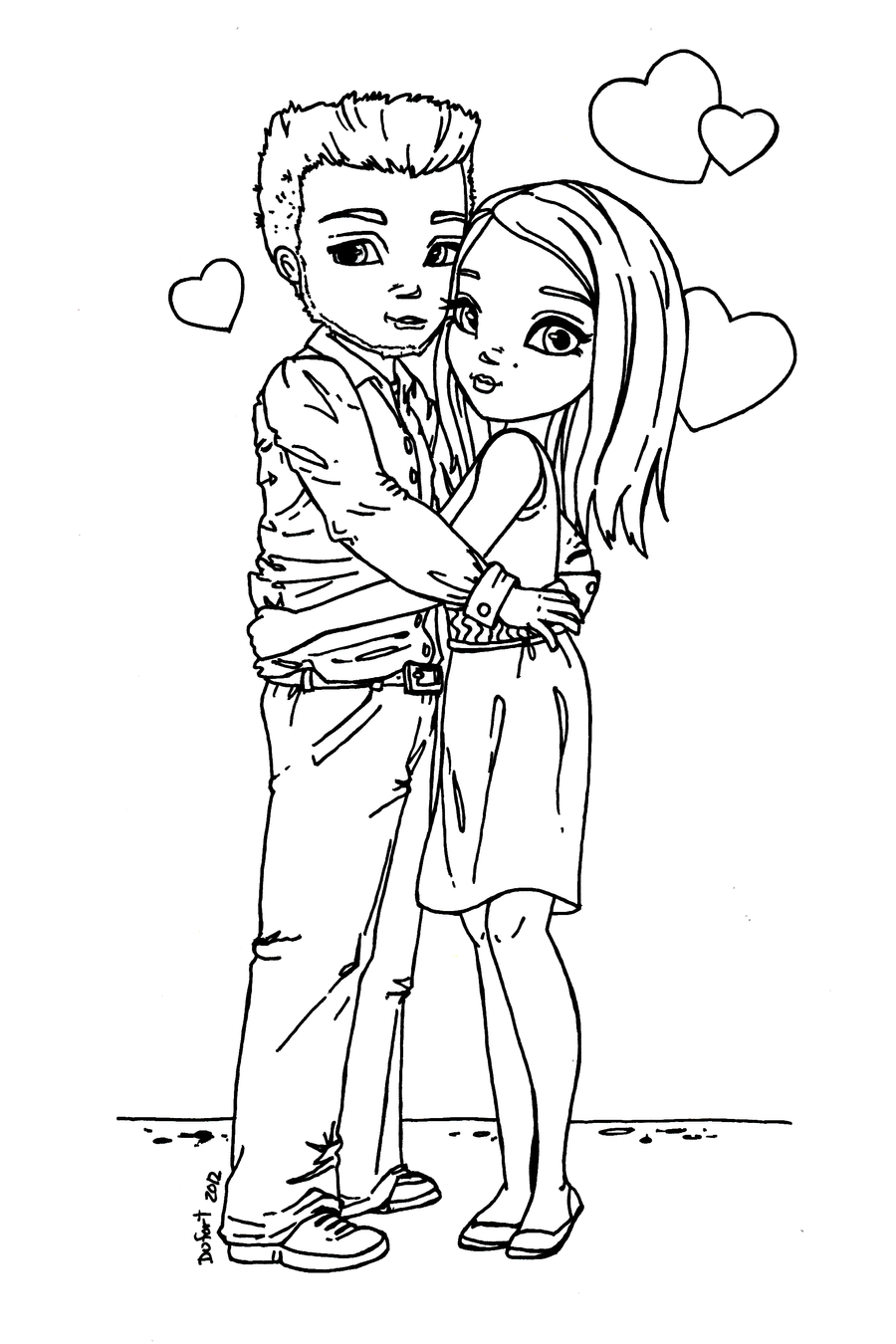 coloring pages of couples young couple lineart by jadedragonne on deviantart of pages couples coloring