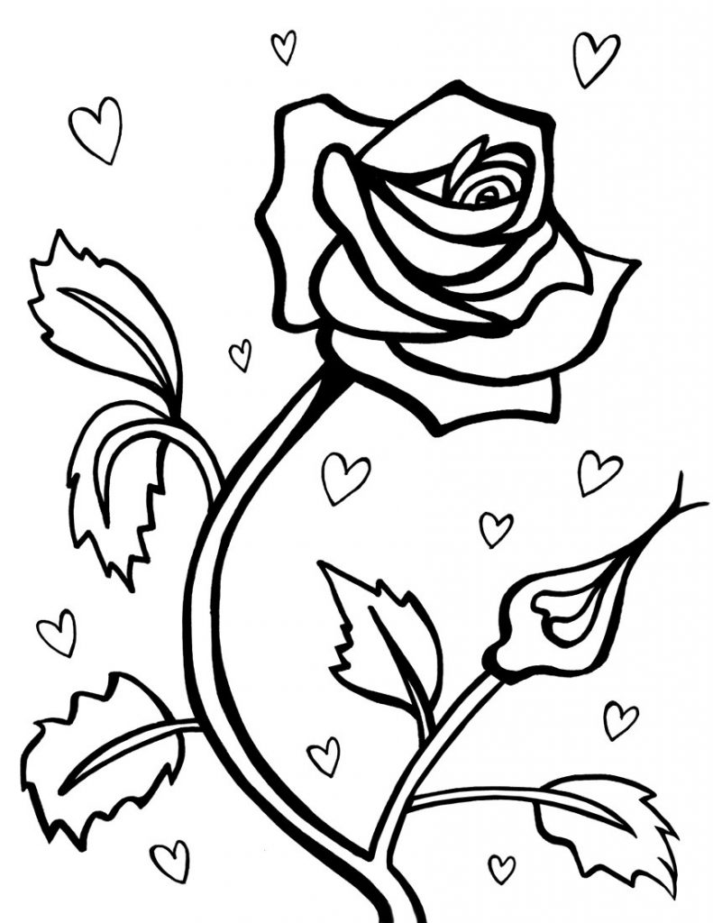 coloring pages of hearts with roses hearts and flowers drawing at getdrawingscom free for pages hearts coloring of with roses