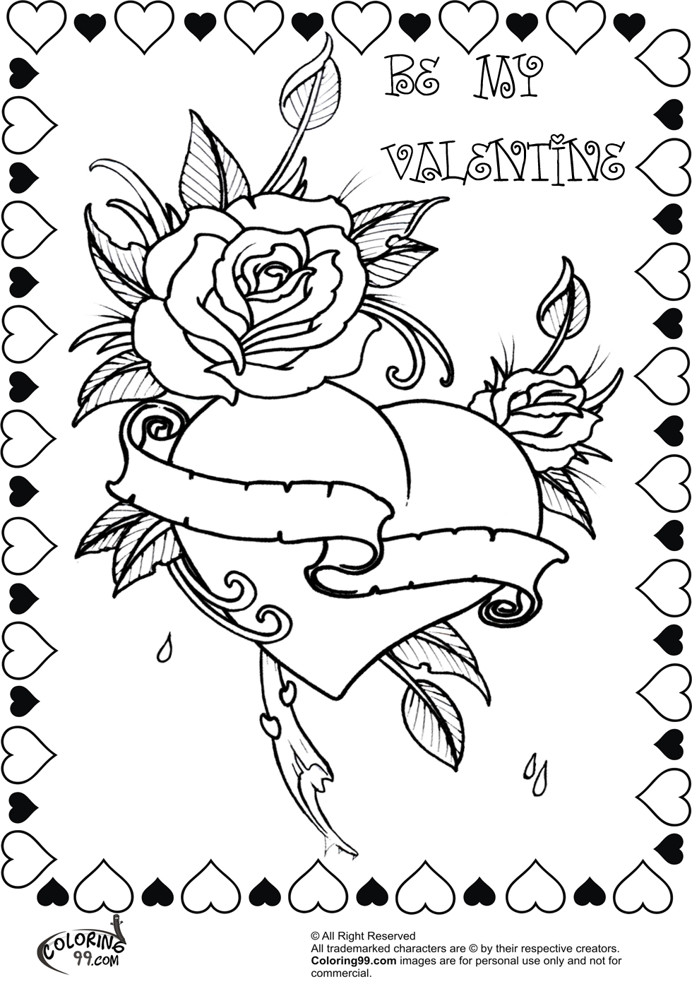 coloring pages of hearts with roses hearts and roses coloring pages getcoloringpagescom of coloring hearts roses pages with
