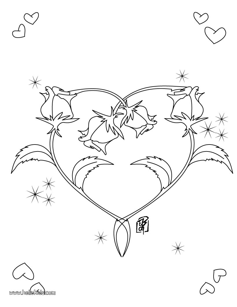 coloring pages of hearts with roses picture of hearts and roses coloring page picture of with pages hearts coloring of roses