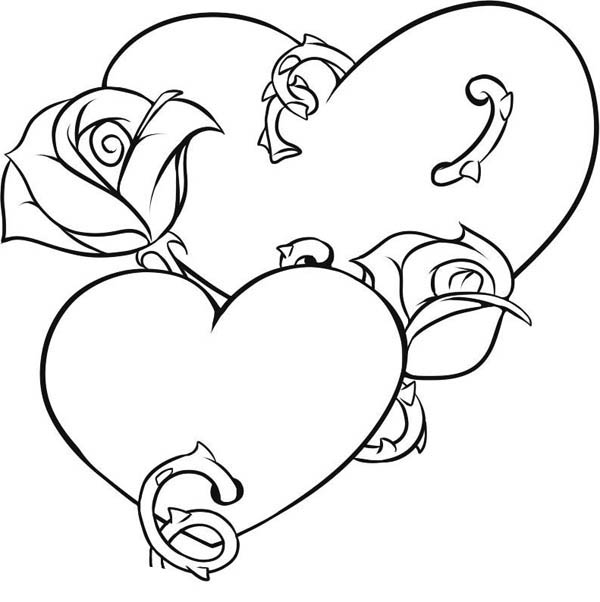 coloring pages of hearts with roses team colors coloring roses of with hearts pages