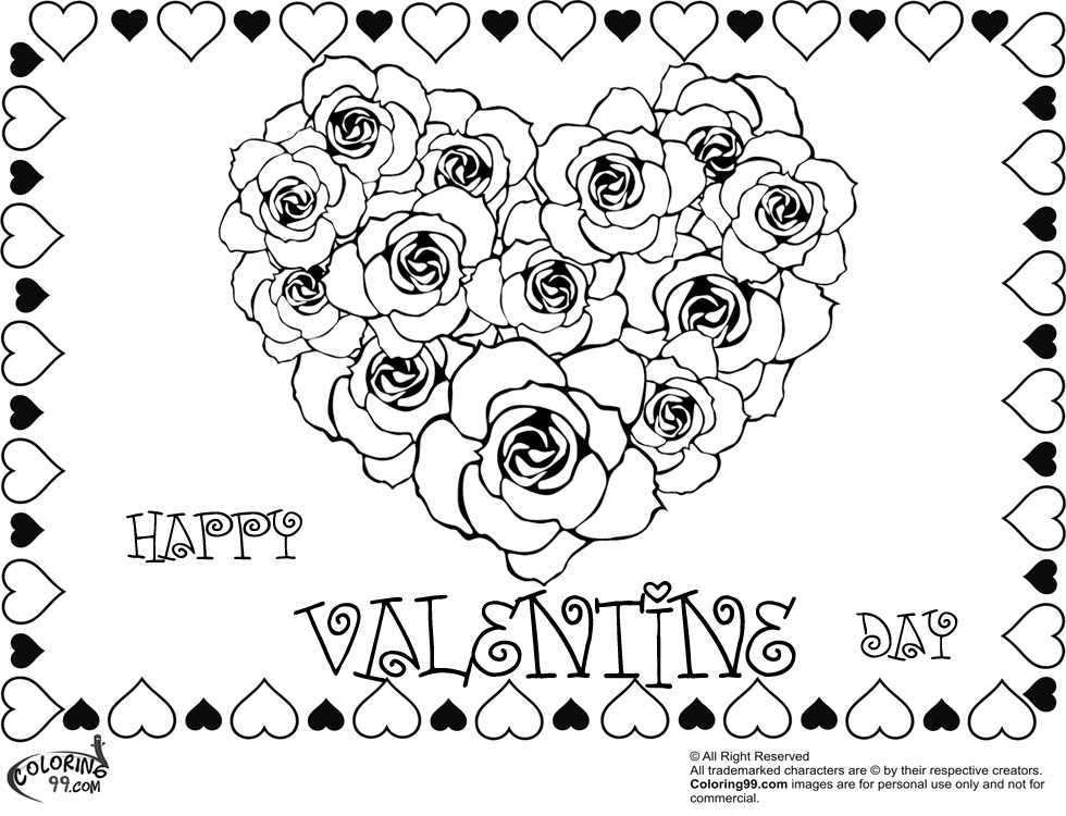 coloring pages of hearts with roses three hearts and roses coloring page color luna with hearts coloring roses pages of