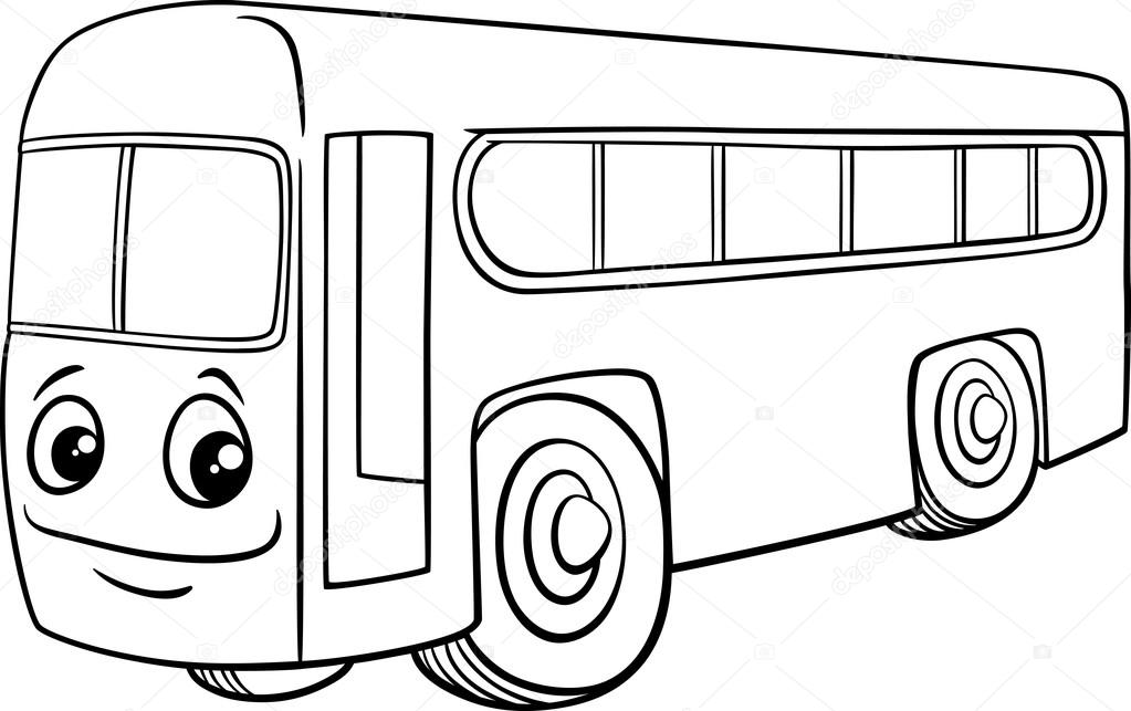 coloring picture of a bus bus character cartoon coloring book stock vector of coloring bus picture a