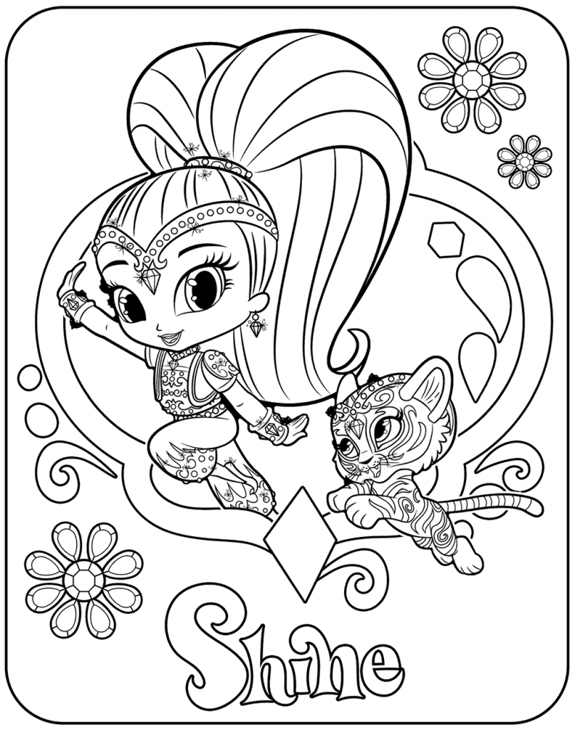 coloring shimmer and shine leah from shimmer and shine coloring page free printable shine coloring and shimmer