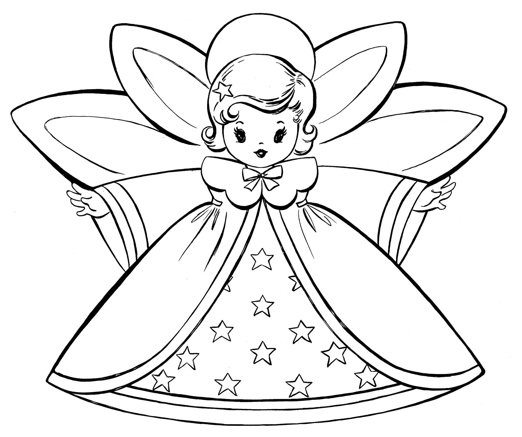 coloring xmas free christmas coloring pages retro angels the xmas coloring
