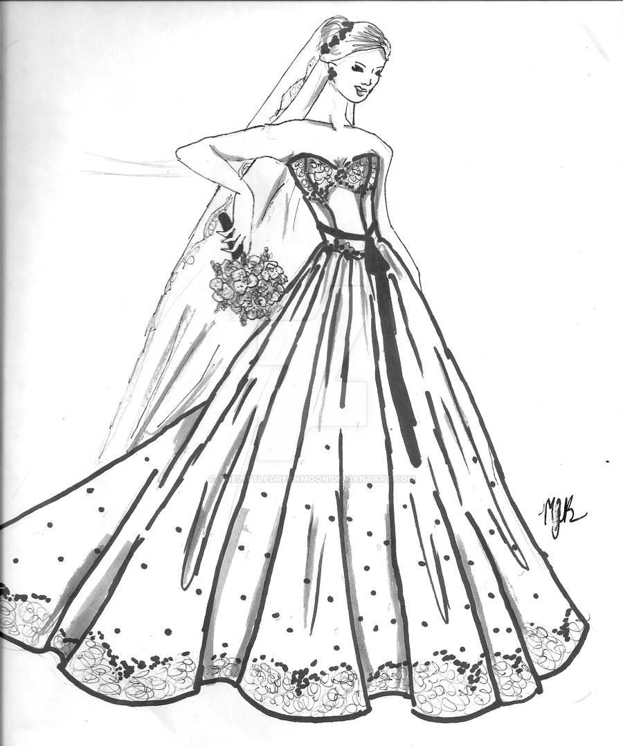 colouring pages dresses diamonds and lace wedding dress by thelittlegreenmoon on colouring dresses pages