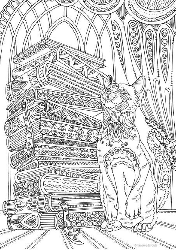 colouring pages for adults online free cat and books printable adult coloring page from favoreads for colouring free adults pages online