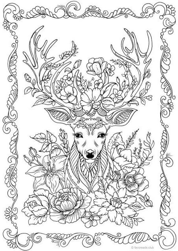 colouring pages for adults online free fantasy deer printable adult coloring page from favoreads free for colouring adults online pages