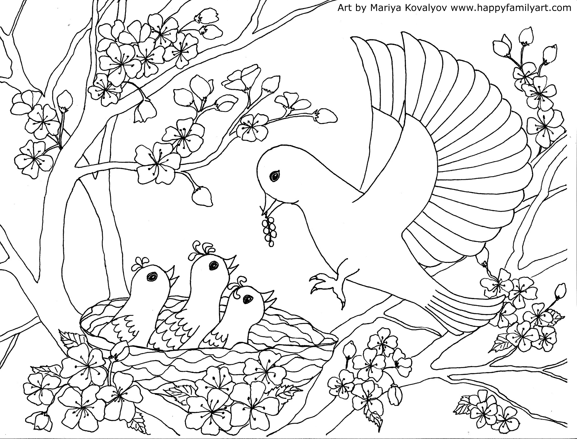 colouring pictures of birds birds coloring page happy family art of colouring birds pictures