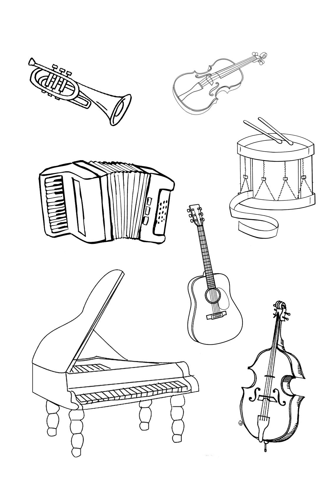 colouring pictures of musical instruments musical instruments coloring pages to download and print pictures instruments of musical colouring