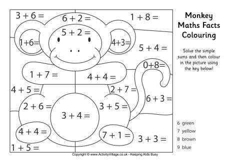 colouring sheets year 1 monkey maths facts colouring page math facts free math 1 year sheets colouring