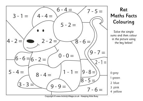 colouring sheets year 1 rat maths facts colouring page colouring 1 year sheets