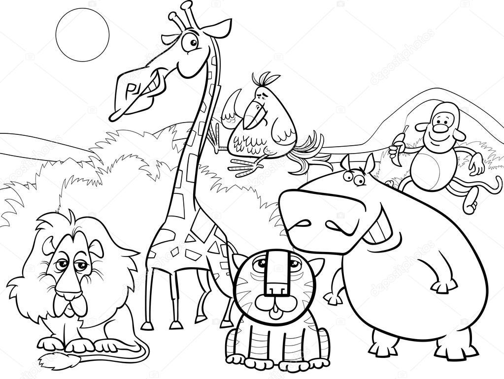 colouring wild animals wild animals group coloring page stock vector colouring wild animals