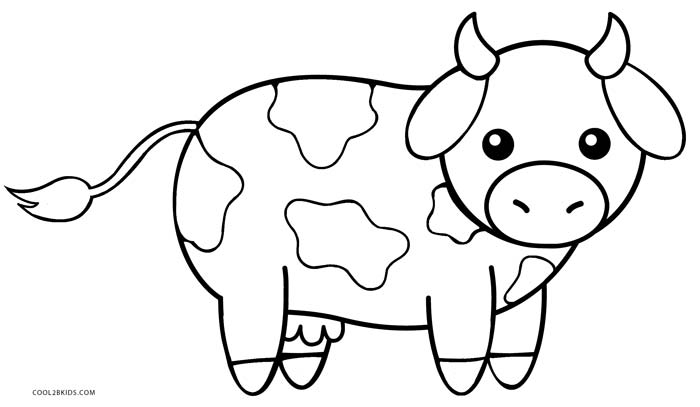 cow coloring page cute cow animal coloring books for kids drawing coloring page cow