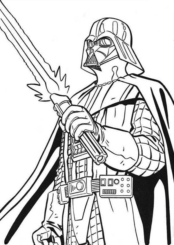 darth vader colouring the terrifying darth vader with light saber in star wars darth colouring vader