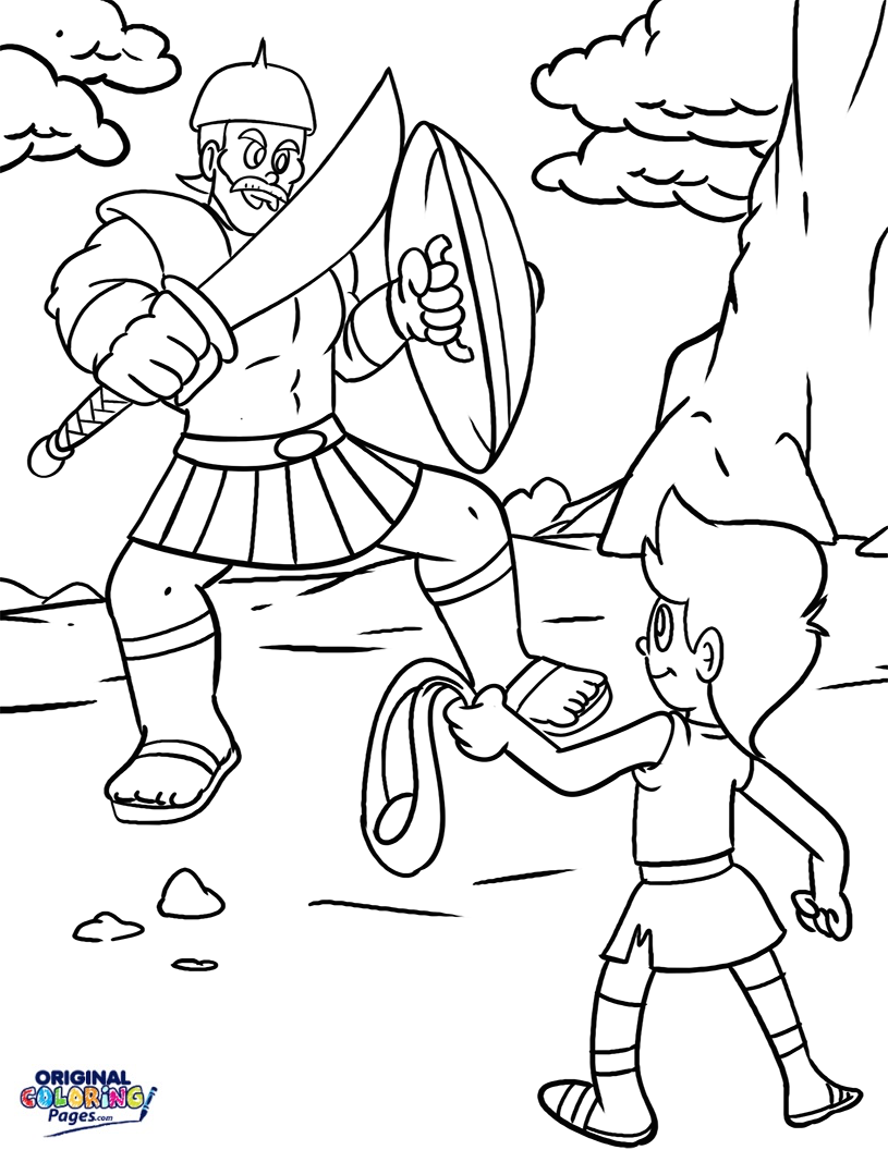 david and goliath coloring page david and goliath drawing at getdrawingscom free for page and david goliath coloring