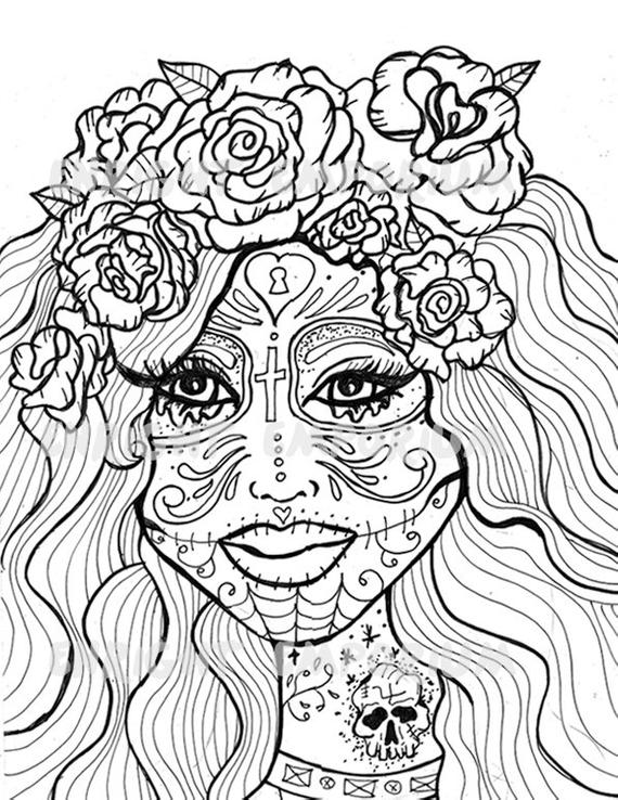 day of the dead printable coloring pages items similar to sugar skull girl day of the dead coloring day coloring dead printable the pages of