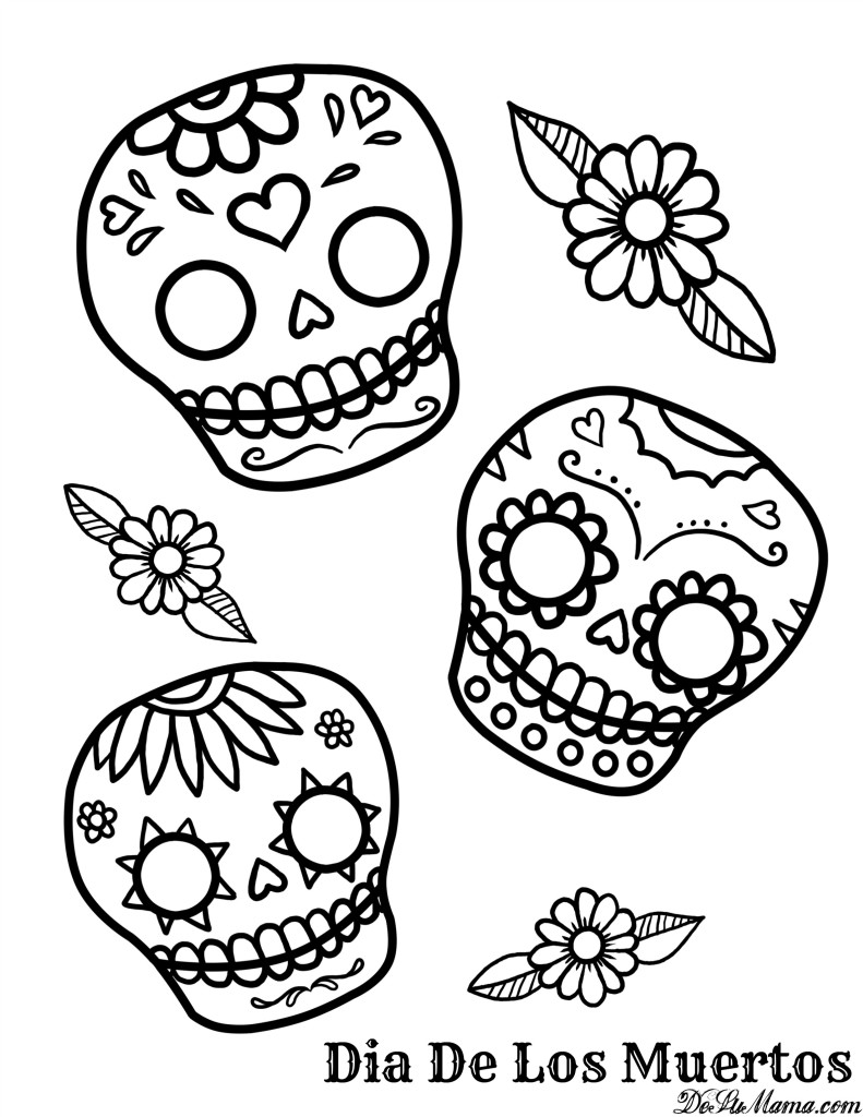 day of the dead printables sugar skull with flowers coloring page free printable the day of dead printables