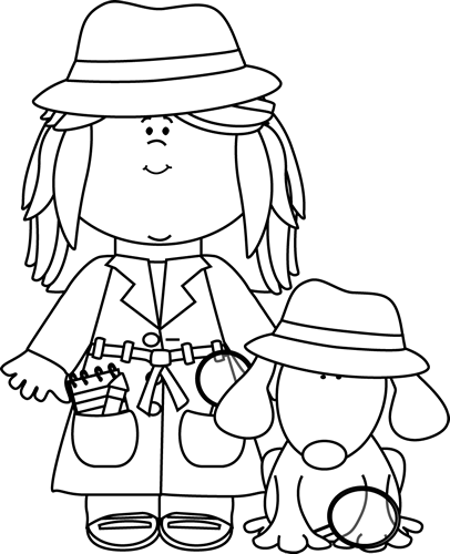detective coloring pages coloring page outline of cartoon girl detective with loupe coloring detective pages