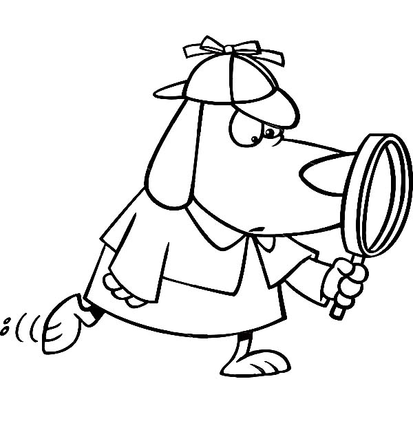 detective coloring pages detective dog with magnifying glass coloring page netart coloring detective pages