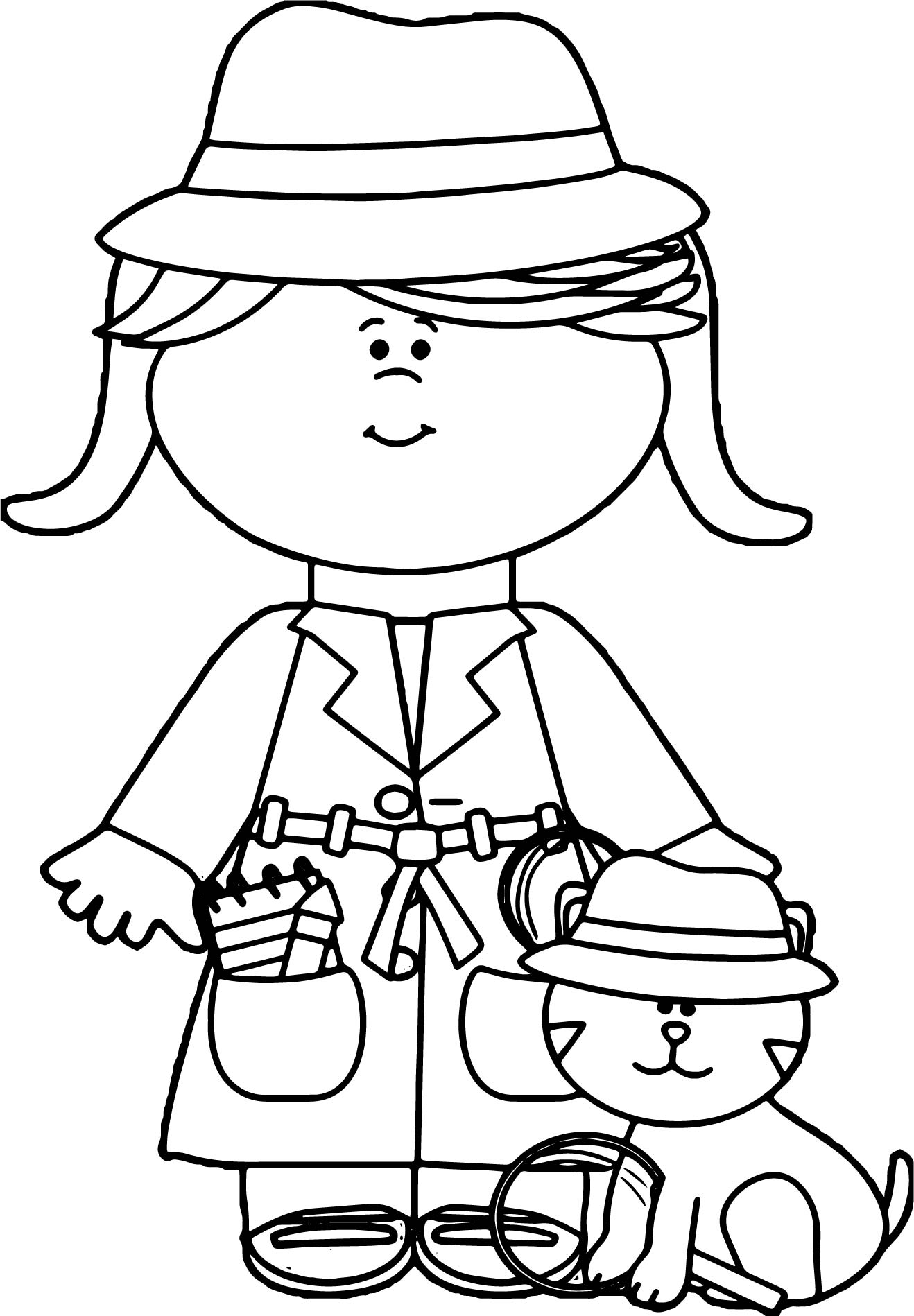 detective coloring pages little girl detective with cat coloring page coloring pages detective