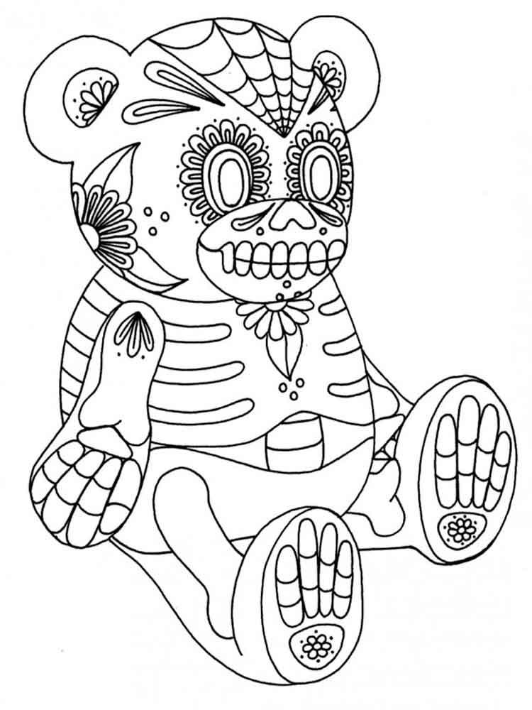 dia de los muertos coloring skull coloring pages for adults de dia los coloring muertos