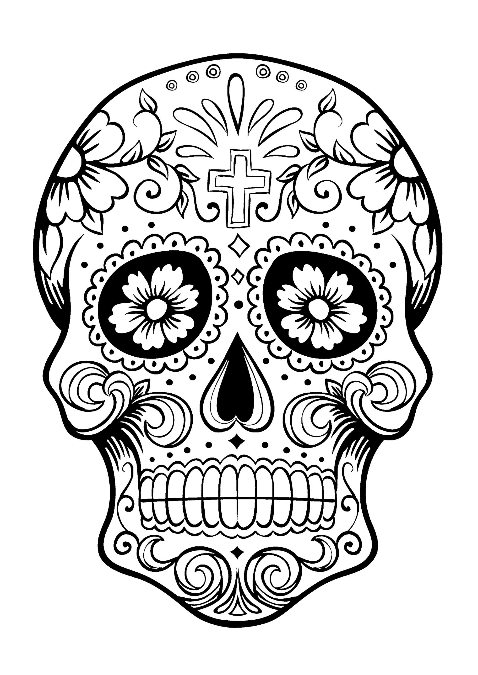 dia de los muertos coloring skull coloring pages for adults los dia coloring de muertos
