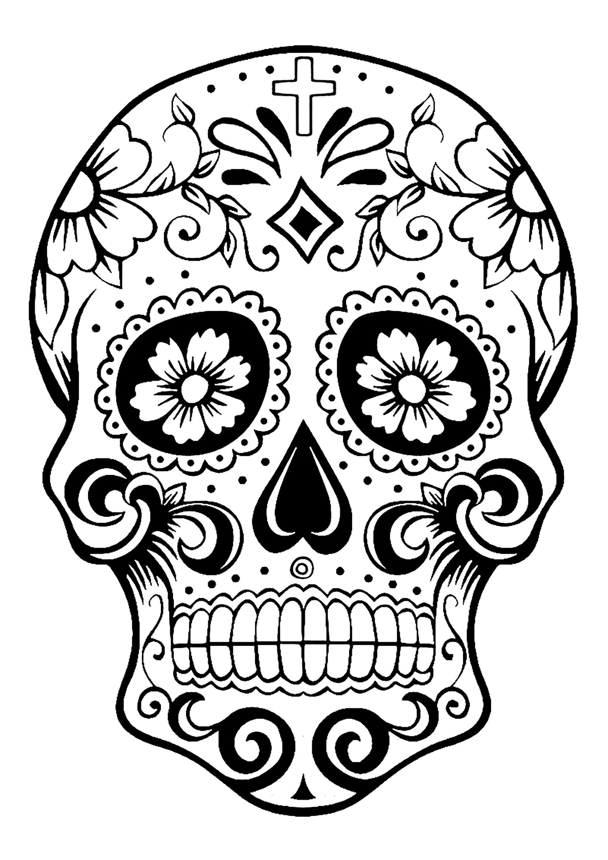 dia de los muertos coloring skull coloring pages for adults muertos de dia los coloring