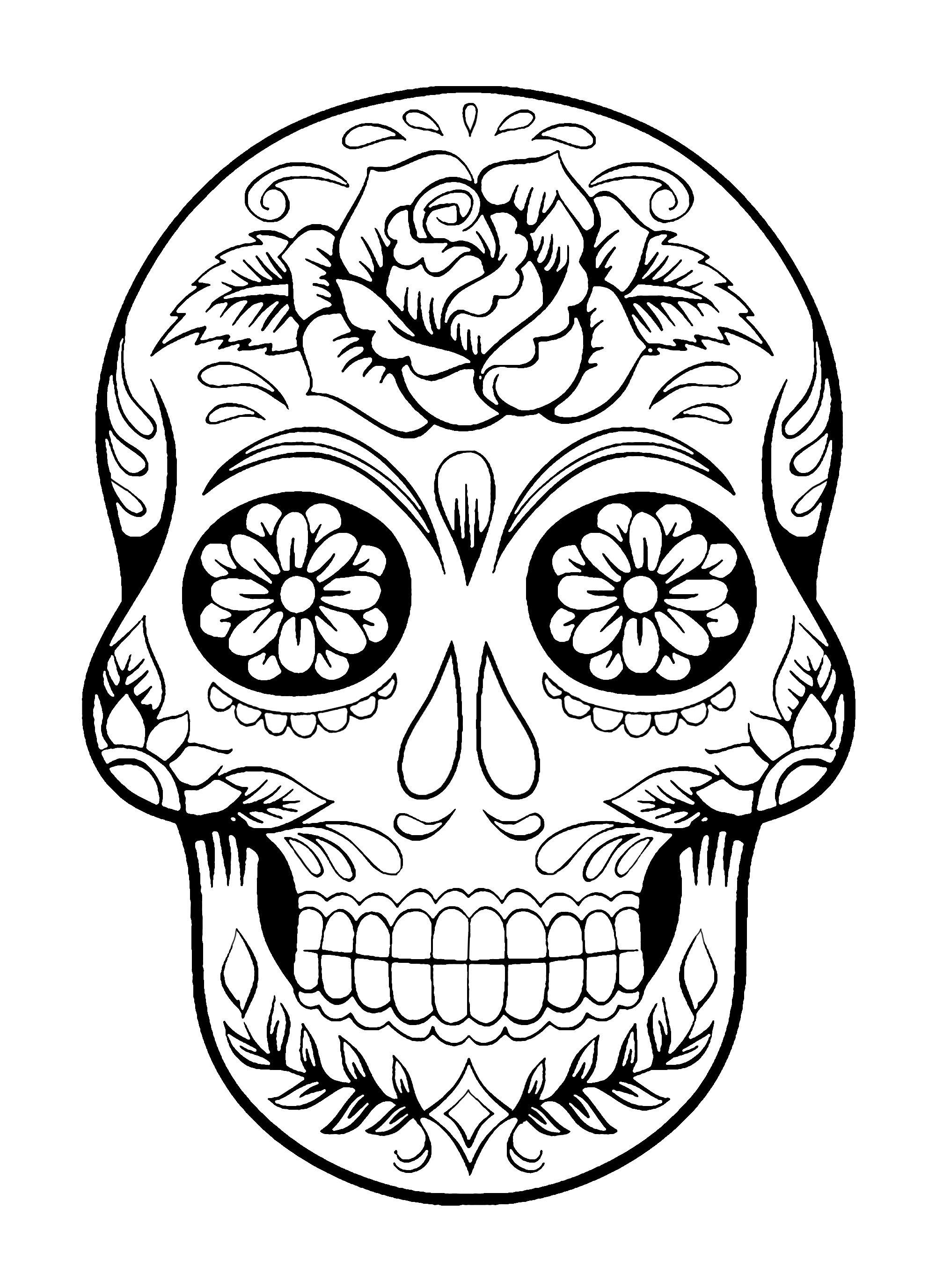 dia de los muertos coloring skull coloring pages for adults muertos dia los de coloring