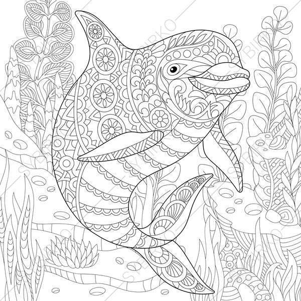 dolphin coloring printables two dolphins in the ocean dolphins adult coloring pages coloring dolphin printables