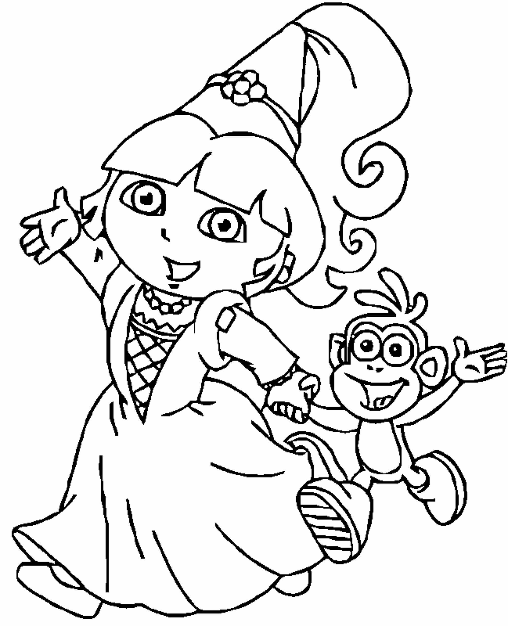 dora coloring page dora coloring pages backpack diego boots swiper print coloring page dora