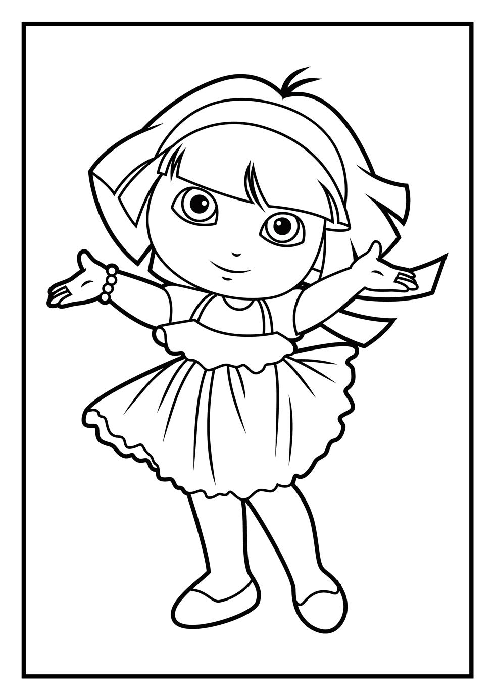 dora coloring page print download dora coloring pages to learn new things dora coloring page