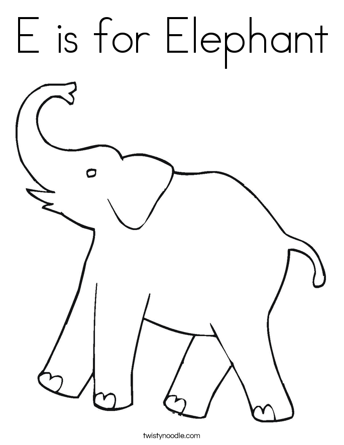 e is for elephant coloring page e is for elephant coloring page twisty noodle e is coloring for elephant page
