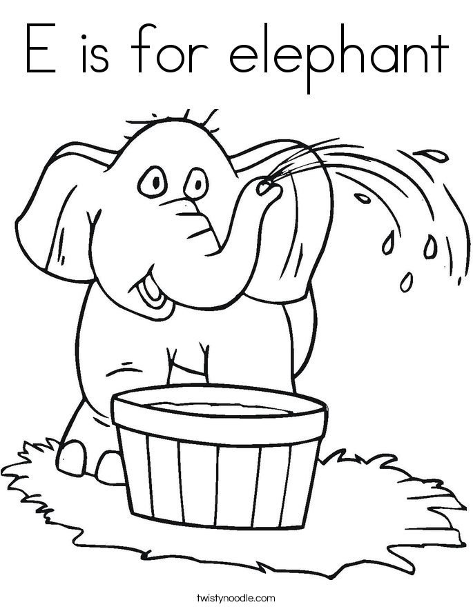 e is for elephant coloring page e is for elephant coloring page twisty noodle elephant for page coloring is e