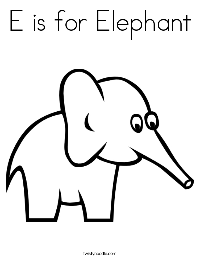 e is for elephant coloring page e is for elephant coloring page twisty noodle is page coloring for e elephant
