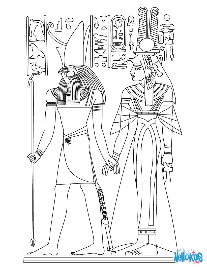 egyptian coloring pages printable horus and nefertiti deities coloring pages hellokidscom egyptian pages printable coloring