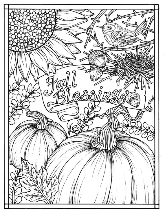 electronic coloring book for adults download fall blessings instant digital coloring page adults for electronic coloring book