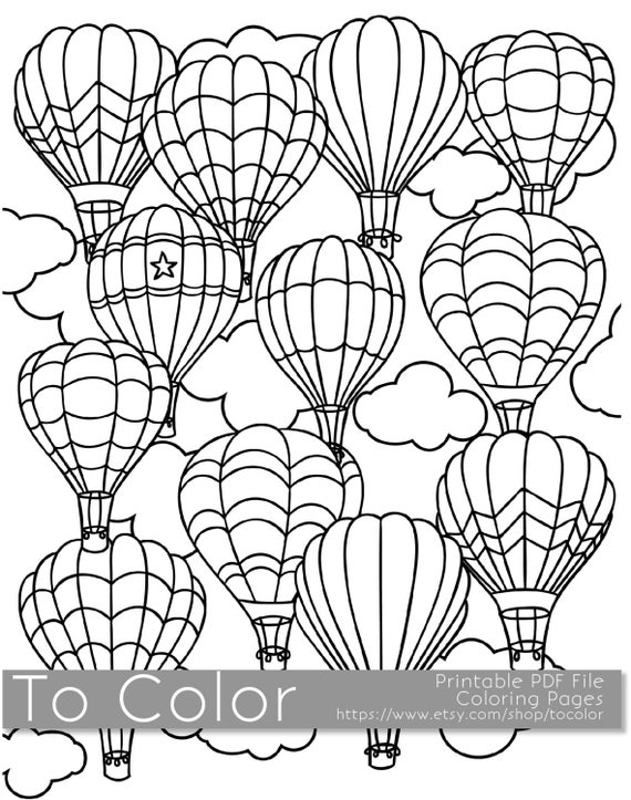 electronic coloring book for adults items similar to printable hot air balloon coloring page adults coloring electronic for book