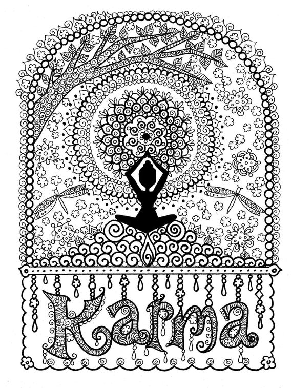 electronic coloring book for adults karma coloring page digital coloring for adults instant electronic adults book coloring for